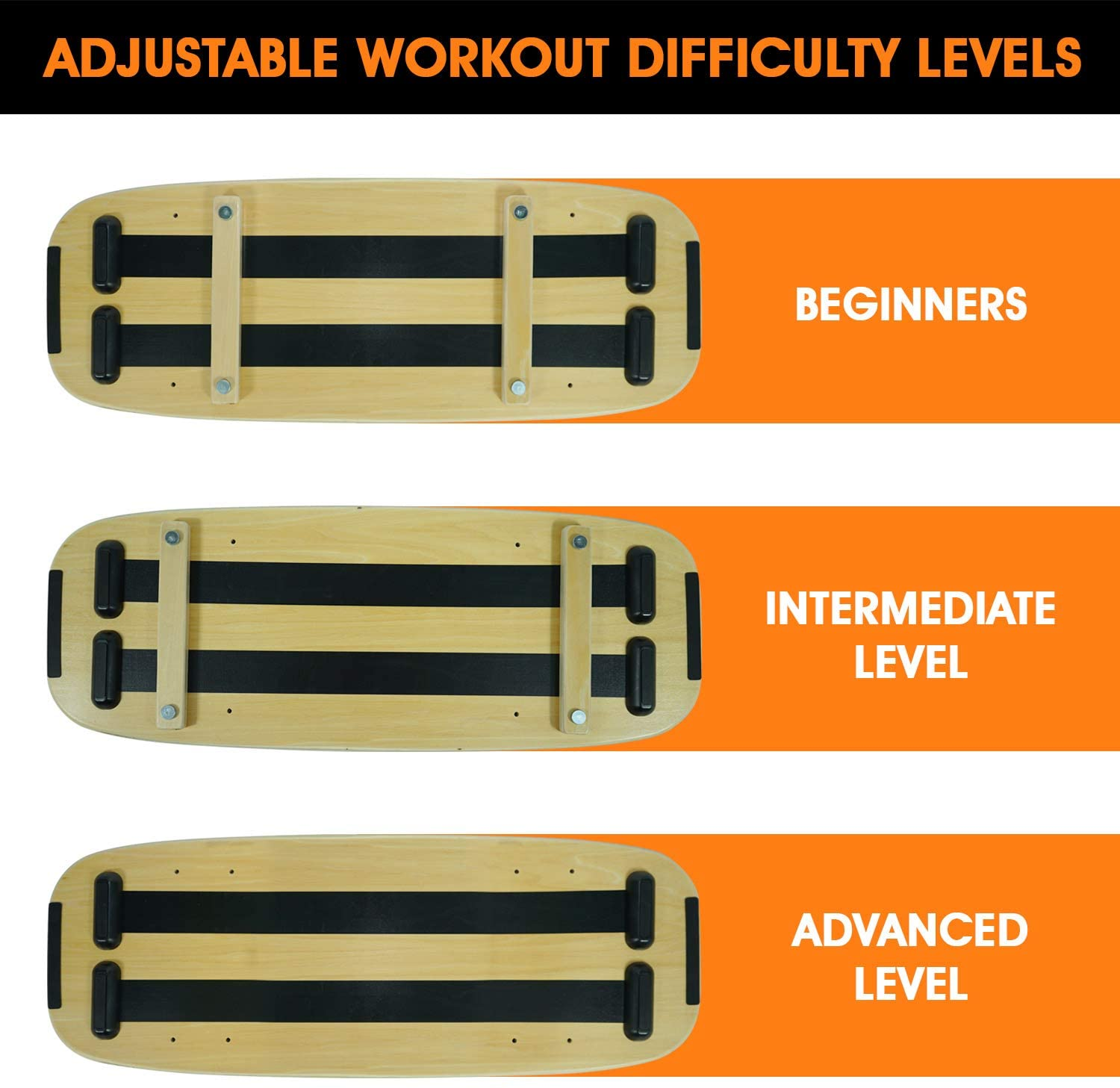 Balance Board Trainer with 3 levels of adjustable distance,Professional Wooden